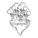 Exotische Bäume und Büsche des Schmutzes im Floss idland lizenzfreie abbildung