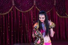 Exotische Buikdanser met Grote Slang op Stadium Royalty-vrije Stock Afbeelding