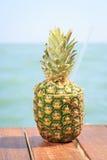 Exotische cocktail in de ananas Overzeese pijler Concept luxe va Stock Afbeelding