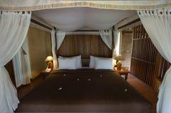 Exotische de slaapkamer dichte omhooggaand van de bamboehut Stock Afbeelding