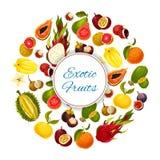 Exotische en tropische verse vruchten vectoraffiche Royalty-vrije Stock Afbeeldingen