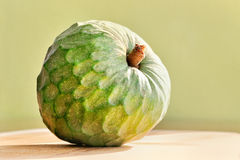 Exotische fruitcherimoya op groene achtergrond Stock Foto