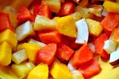 Exotische fruitsalade met kokosnoot, papaja en mango Royalty-vrije Stock Foto's