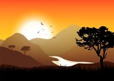 Exotische Landschaft E Wüste und Berge von Afrika Tourismus und Reisen stock abbildung