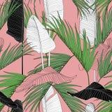 Exotische lijn tropische bladeren op beige achtergrond Bloemen naadloos patroon royalty-vrije illustratie