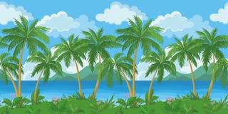 Exotische nahtlose tropische Seelandschaft Lizenzfreie Stockfotos