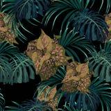 Exotische tropische Dschungelanlagen Tropisches Muster des nahtlosen Vektors mit tropischen rosa Anlagen und monstera Blättern stock abbildung
