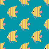 Exotische tropische Fische laufen flache Vektorillustration der nahtlosen Musterunterwasserozeanspezieswasserbelastungsnatur Lizenzfreie Stockfotos