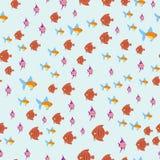 Exotische tropische Fische laufen flache Vektorillustration der nahtlosen Musterunterwasserozeanspezieswasserbelastungsnatur Stockfotografie