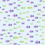 Exotische tropische Fische laufen flache Vektorillustration der nahtlosen Musterunterwasserozeanspezieswasserbelastungsnatur Stockbild