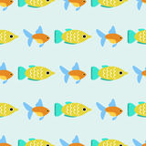 Exotische tropische Fische laufen flache Vektorillustration der nahtlosen Musterunterwasserozeanspezieswasserbelastungsnatur Lizenzfreie Stockfotografie