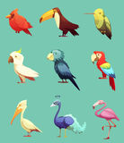 Exotische tropische Vogel-Retro- Ikonen eingestellt lizenzfreie abbildung