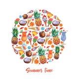 Exotische vruchten cirkel in waterverfstijl op witte achtergrond Het ontwerp van het fruitvoedsel Ananassamenstelling Vers fruit stock illustratie