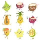 Exotische Vruchten het BeeldverhaalSet van tekens van Girly vector illustratie