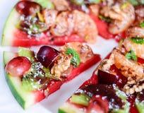 Exotische Wassermelonenpizza der tropischen Frucht Lizenzfreies Stockfoto