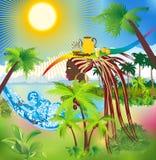 Exotische Zusammensetzung mit Palmen Stockbild