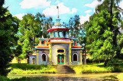 Exotischer Pavillon nannte die chinesische quietschende Laube lizenzfreie abbildung