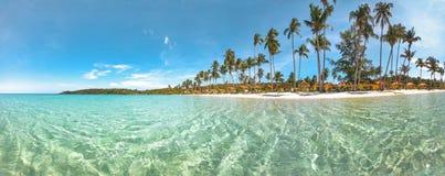 Exotischer tropischer Strand unter blauem Himmel stockfoto
