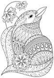 Exotischer Vogel Zentangle in den Blumen Hand gezeichnetes ethnisches Tier für a vektor abbildung