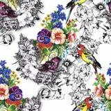 Exotischer Vogelpapagei mit buntem nahtlosem Muster der Blumen Dekoratives Bild einer Flugwesenschwalbe ein Blatt Papier in seine Stockbild