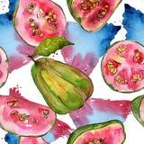 Exotisches Guavenwildfrüchtemuster in einer Aquarellart Lizenzfreie Stockbilder