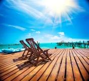 Exotisches karibisches Paradies Tropischer Strandurlaubsort lizenzfreies stockbild