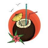 Exotisches Kokosnusscocktail Auch im corel abgehobenen Betrag Stockfotos