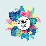 Exotisches und tropisches Hintergrunddesign des Sommerschlussverkaufs Lizenzfreies Stockfoto