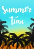 Exotisk bakgrund för sommarsemester Himmel med gömma i handflatan vektorillustrationen Arkivbild