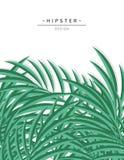 Exotisk bakgrund med gräsplan gömma i handflatan tjänstledigheter för design hipster Arkivbild