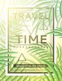 Exotisk bakgrund med palmblad och ram för designhipster Fotografering för Bildbyråer