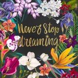 Exotisk blom- ram stock illustrationer