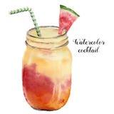 Exotisk coctail för vattenfärg med vattenmelon Räcka den målade tropiska drinken för sommar i kruset som isoleras på vit bakgrund stock illustrationer