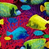 Exotisk fisk i den undervattens- världen stock illustrationer