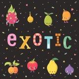 Exotisk fruktillustration för gullig tecknad film Del en Arkivbild