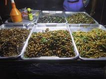 Exotisk mat som säljs i Bangkok, Thailand Arkivbild