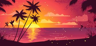 exotisk solnedgång Arkivbild