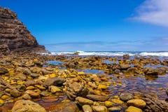 Exotisk stenig strand i Sydafrika Arkivbilder