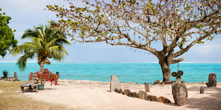 Exotisk strand i franska Polynesia Royaltyfri Fotografi