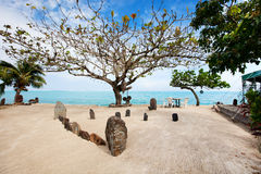 Exotisk strand i franska Polynesia arkivfoto