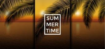 Exotisk uppsättning för bakgrunder för sommarsemester Solnedgångvektorillustration Royaltyfria Bilder