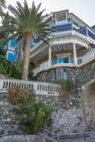 Exotisk villa Palmtree fotografering för bildbyråer