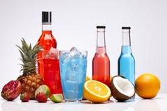 Exotiska alkoholdrinkar som ställs in med frukter Royaltyfria Foton