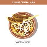 Exotiska Beshbarmak på plattan från central asiatisk kokkonst stock illustrationer