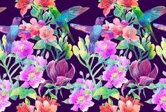 Exotiska blommor och fåglar royaltyfri illustrationer