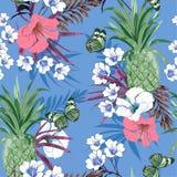 Exotiska färgrika blommor för ljus skog för sommar pastellfärgad tropisk, hibiskus, lilja, sömlös vektormodell för palmblad, desi royaltyfri illustrationer