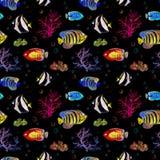 Exotiska fiskar, havskoraller Sömlös bakgrund för neonbelysning vattenfärg Arkivbilder