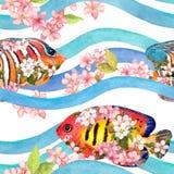 Exotiska fiskar i rosa blommor i vågor, band seamless modell vattenfärg arkivfoto
