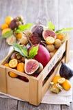 Exotiska frukter i en träspjällåda Arkivbild