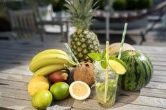 Exotiska frukter och sommarcoctail Arkivfoto